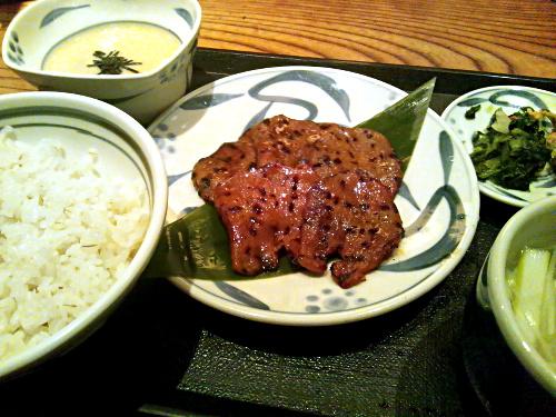新宿ねぎしの辛子味噌たん焼きセット