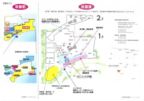武雄市図書館注釈付き館内マップ