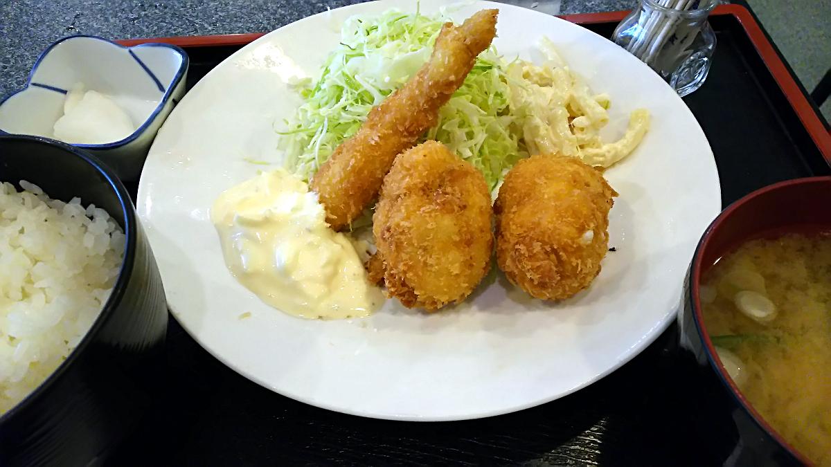 エビフライとカニクリームコロッケ定食@なかえ