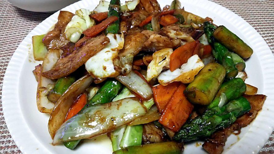 豚バラ肉とアスパラガスのオイスターソース炒め(2018/06/09)