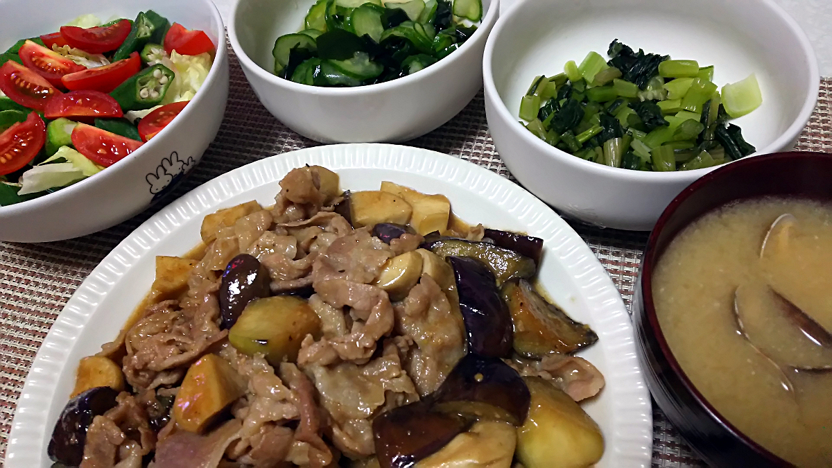 豚肉と茄子とエリンギの味噌ダレ炒め
