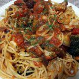 鶏肉と茄子とブロッコリーのトマトソースパスタ(2018/06/25)