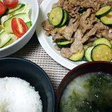 豚肉とズッキーニのマヨネーズ醤油炒め(2018/06/28)