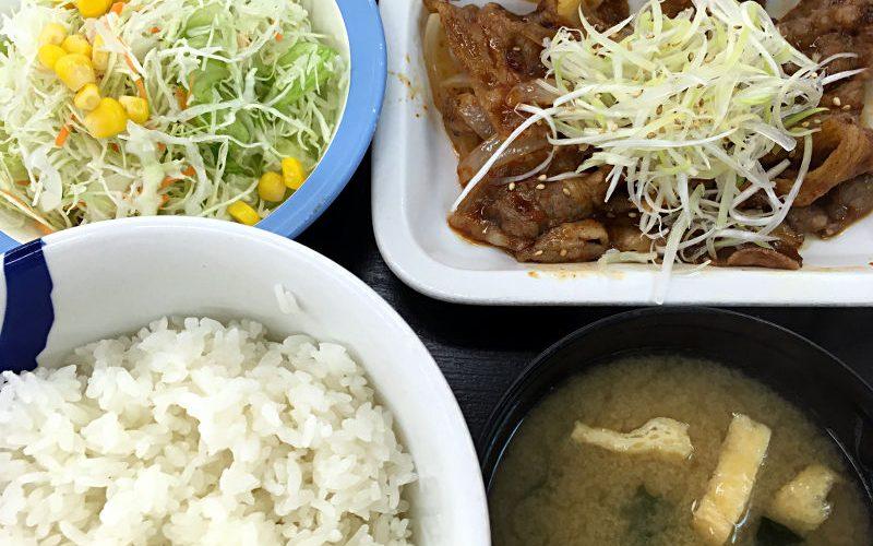 牛焼肉の旨辛炒め定食@松屋