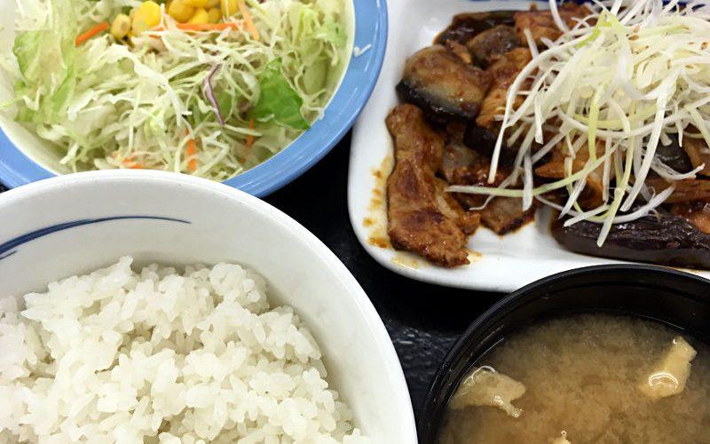 豚と茄子の辛味噌炒め定食@松屋