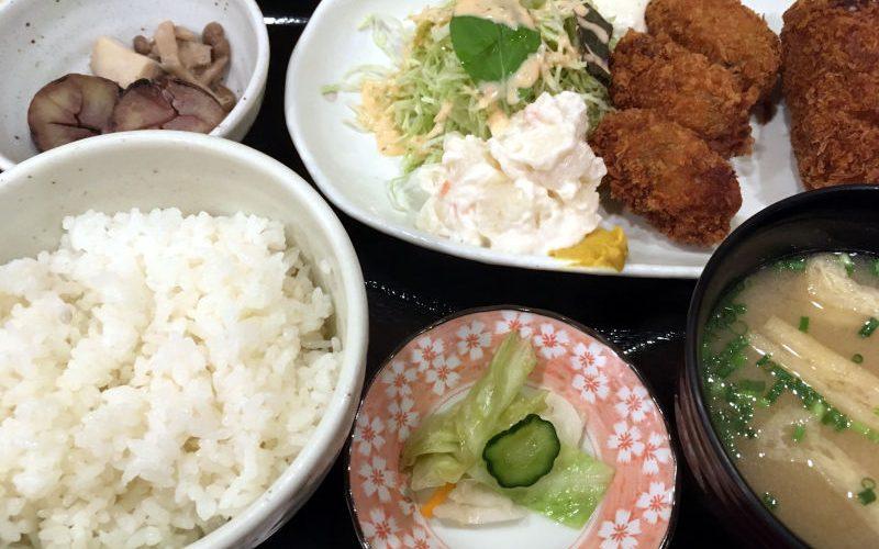 カキフライとカニクロームコロッケ定食@笑助