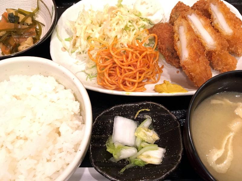 カキフライとイカフライ定食@笑助