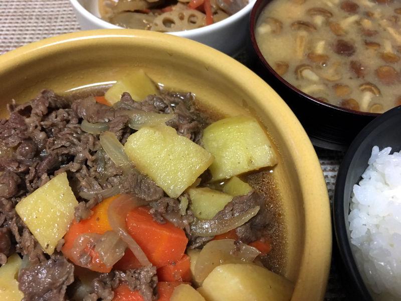 関西風の牛肉を使った肉じゃがを作った