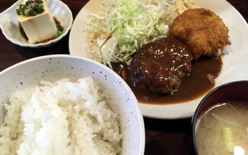 ハンバーグとカニクリームコロッケ@喰いもの屋おおき