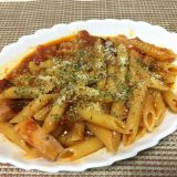 トマトソース自作からのペンネアラビアータでお昼ごはん