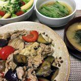 豚肉と茄子と舞茸のピリ辛味噌ダレ炒め(2019/07/06)