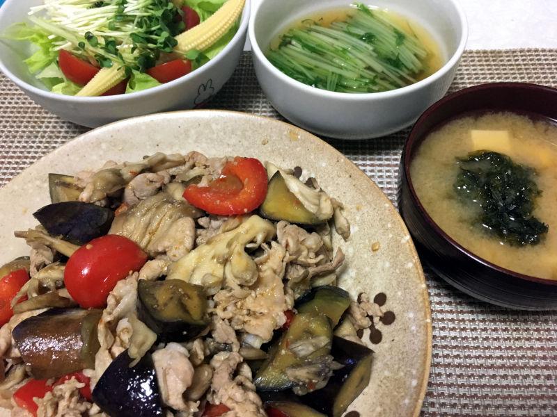 豚肉と茄子と舞茸のピリ辛味噌ダレ炒め