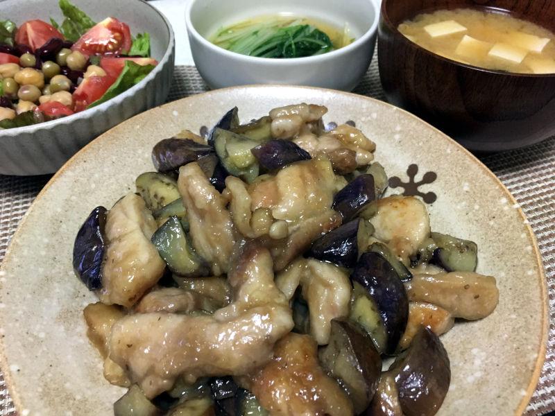 鶏もも肉と茄子の甘酢炒め