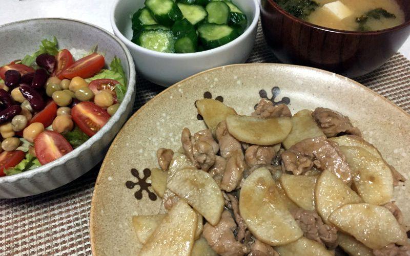 豚こま肉と長芋の甘辛炒め