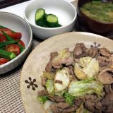 豚こま肉とキャベツのにんにく醤油炒め(2019/07/13)