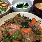 豚こま肉と野菜の豆板醤炒め