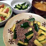 ズッキーニと豚ひき肉の炒め物(2019/07/25)