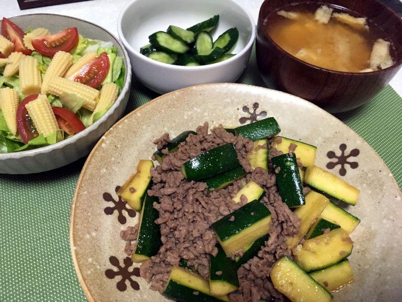ズッキーニと豚ひき肉の炒め物