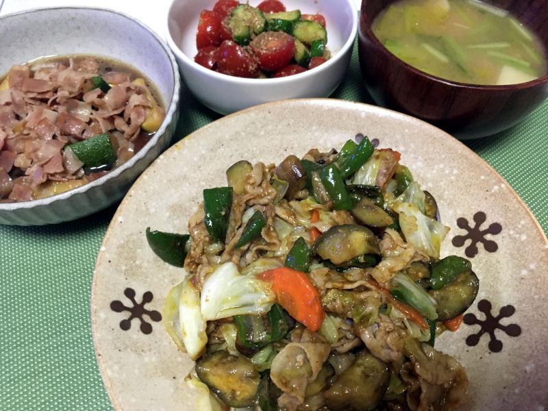豚バラ肉と野菜のカレー炒め
