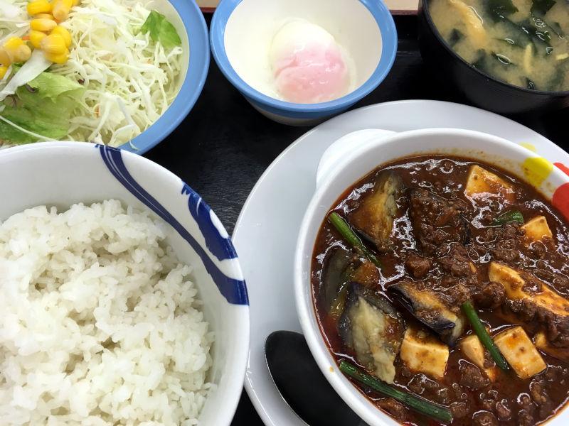 玉子で食べる四川風麻婆豆腐定食@松屋