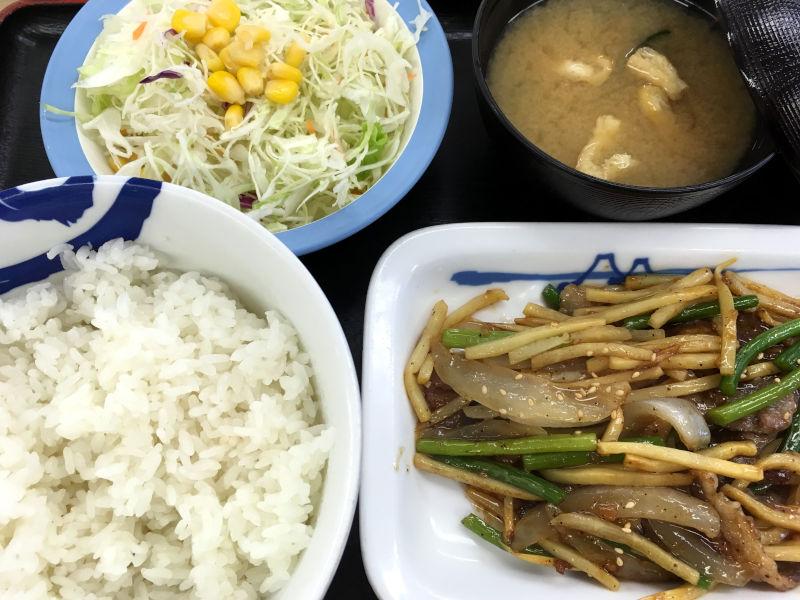 牛肉と筍のオイスター炒め定食@松屋