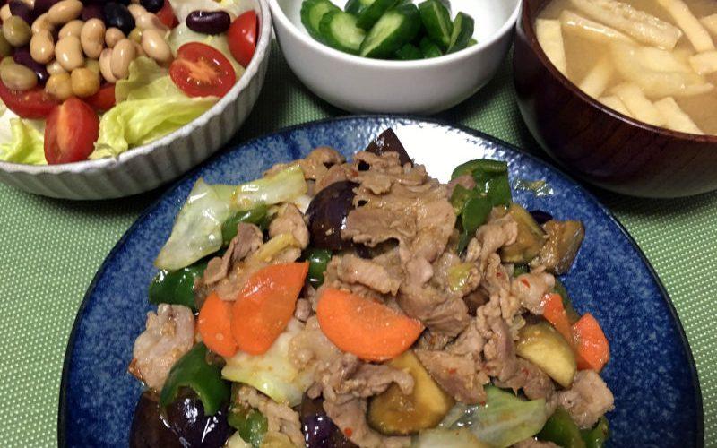 豚こま肉と野菜の辛味噌ダレ炒め