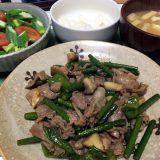 豚バラ肉とにんにくの芽のエスニック風炒め(2019/08/08)