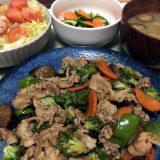 豚バラ肉とブロッコリーのピリ辛にんにく醤油炒め(2019/08/10)