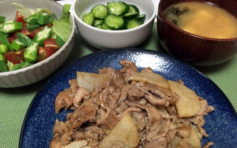 豚こま肉と長芋の醤油炒め(2019/08/13)