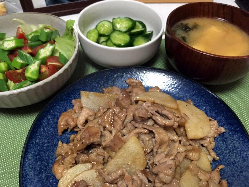 豚こま肉と長芋の醤油炒め
