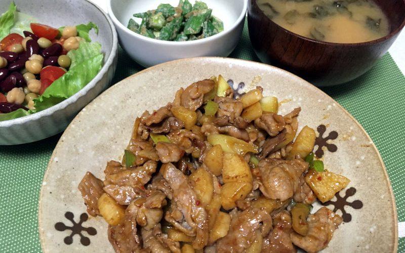 豚こま肉と長芋の甘辛豆板醤炒め(2019/08/24)