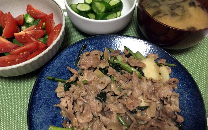豚こま肉とかぶの醤油炒め