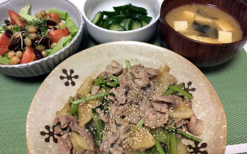 豚こま肉とかぶのにんにく醤油炒め(2019/09/24)