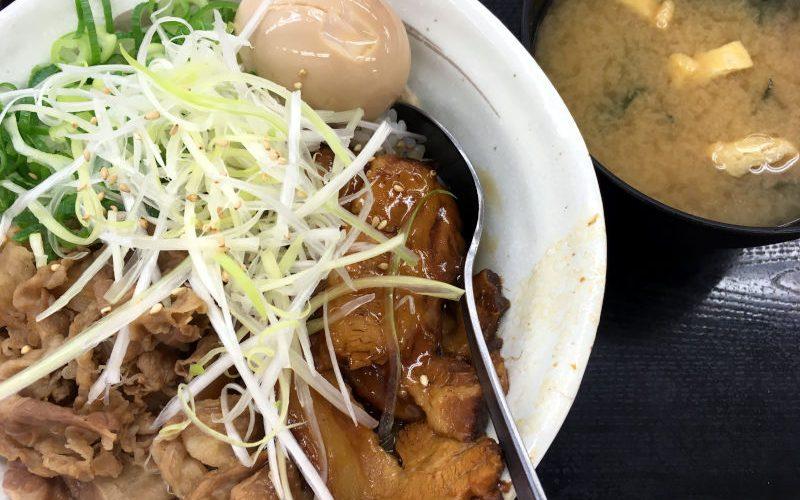 牛と味玉の豚角煮丼@松屋