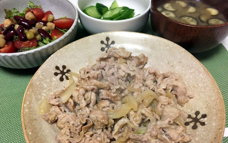 豚バラ肉の生姜焼き(2019/10/11)
