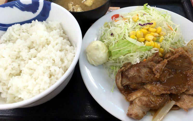 新米フェアと豚肩ロースの生姜焼定食@松屋