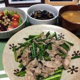豚こま肉とにんにくの芽の炒め物(2019/11/27)