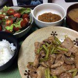 豚バラ肉とにんにくの芽の中華風炒め(2020/04/24)
