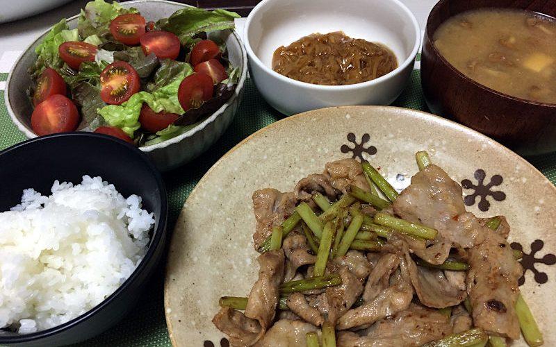 豚バラ肉とにんにくの芽の中華風炒め