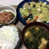 八宝菜とアスパラガスのおひたし(2020/06/08)