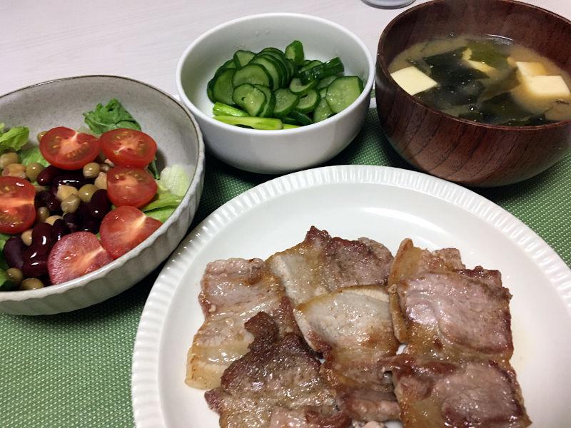 焼肉とアスパラガスの浅漬け