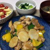 鶏もも肉と長芋のガリバタ炒め