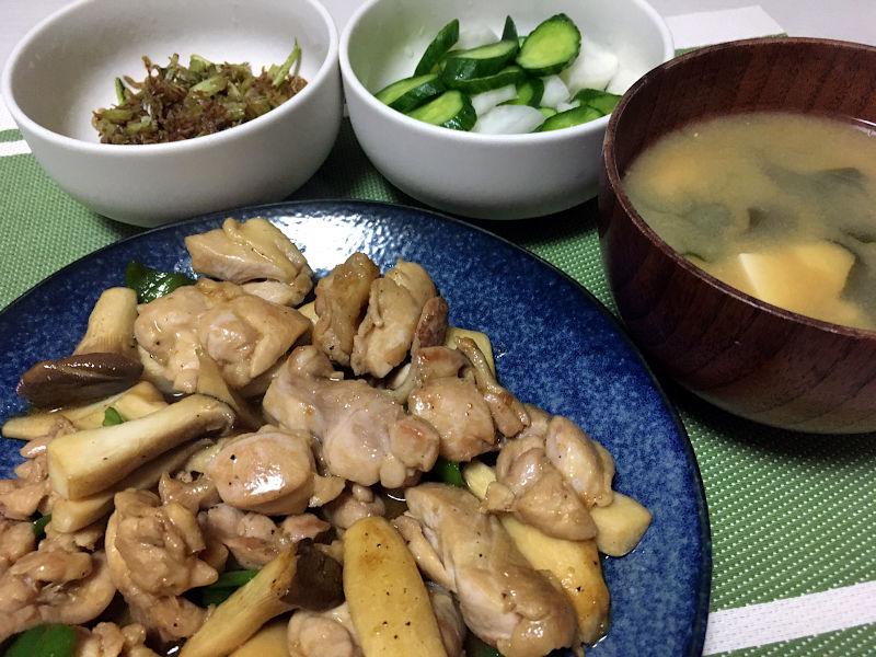 鶏肉とエリンギのバター醤油炒め