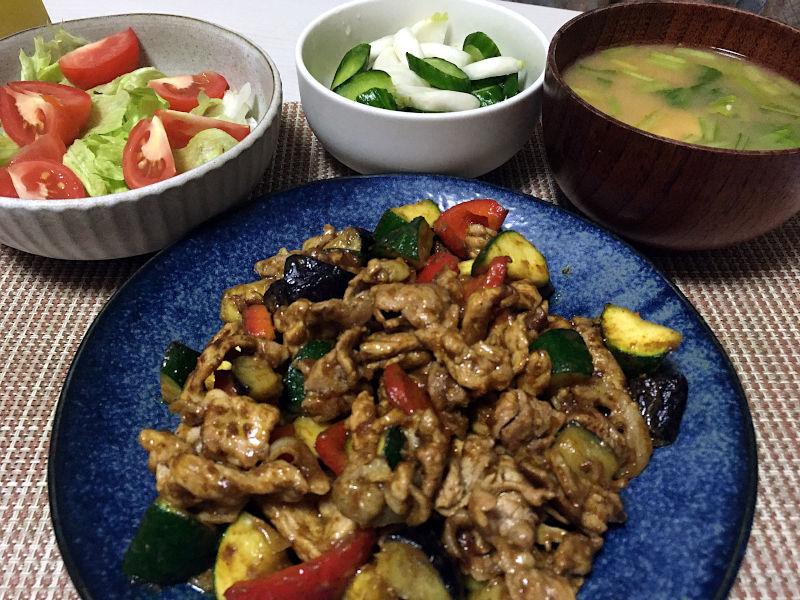 豚肉と夏野菜のカレー炒め