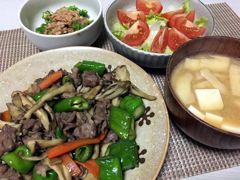 豚肉と万願寺とうがらしの甘辛炒め