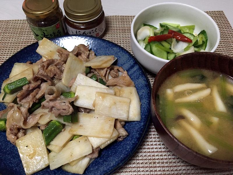 豚肉と長芋とおくらの甘辛炒め