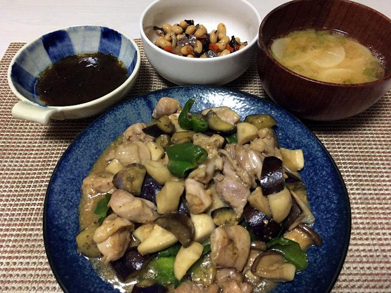 鶏肉とエリンギの味噌炒め