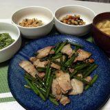 豚肉とにんにくの芽のにんにく醤油炒め(2020/08/24)