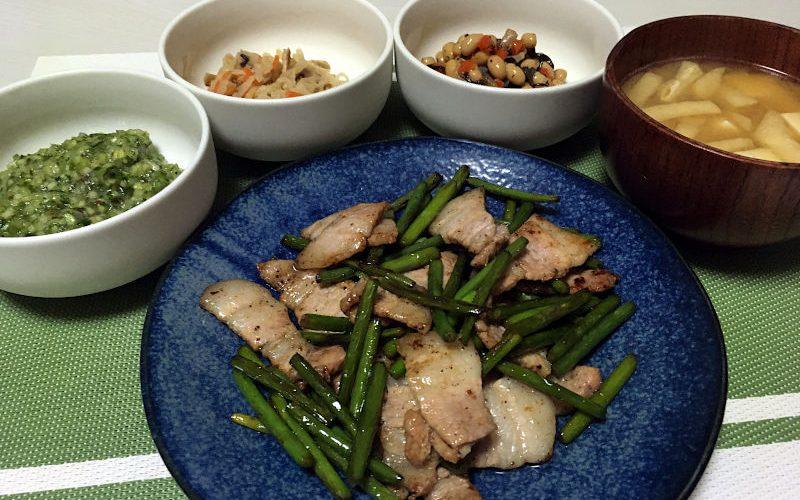 豚肉とにんにくの芽のにんにく醤油炒め