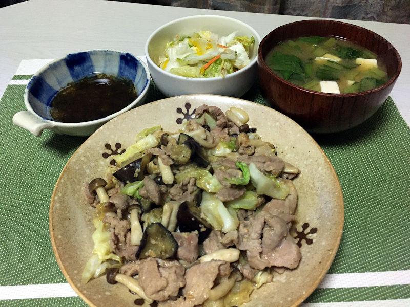 豚肉と茄子とキャベツの味噌ダレ炒め